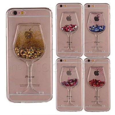 Capa Taça de Vinho com Glitter - Cores Sortidas