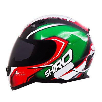 Capacete Shiro Sh881 Motegi Italy - Preto Vermelho e Verde