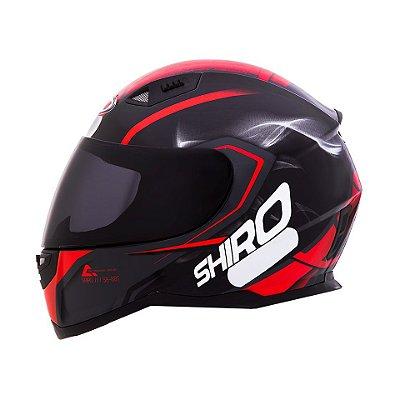 Capacete Shiro Sh881 Motegi - Preto e Vermelho