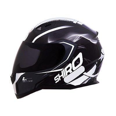 Capacete Shiro Sh881 Motegi - Preto e Branco