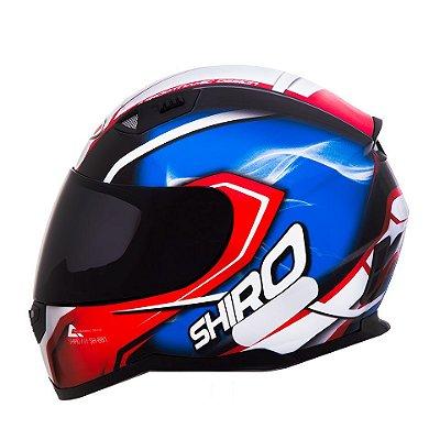 Capacete Shiro Sh881 Motegi France - Preto Azul e Vermelho