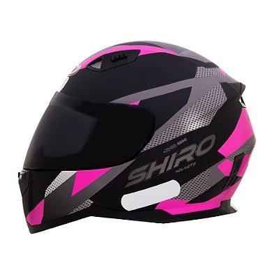 Capacete Shiro Sh881 BRNO - Preto e Rosa
