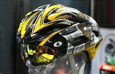 Capacete Bike Dux Helm Helmet Para Ciclista Bicicleta Tamanho M - Amarelo