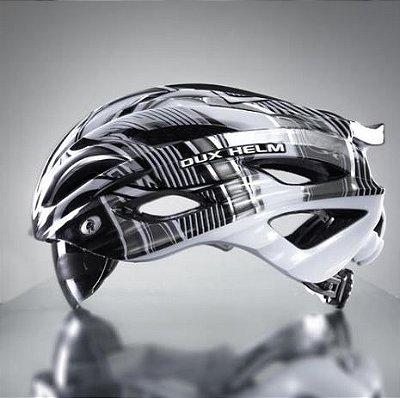 Capacete Bike Dux Helm Helmet Para Ciclista Bicicleta Tamanho G - Preto e Branco