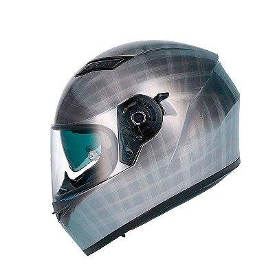 Capacete Shiro Sh600 Scratched Chrome  c/ Viseira Solar - Cromado