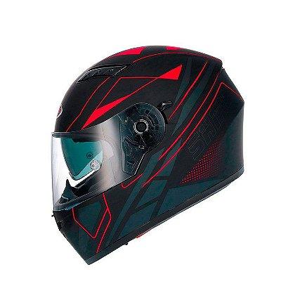 Capacete Shiro Sh600 Elite c/ Viseira Solar - Preto Fosco e Vermelho Fluor