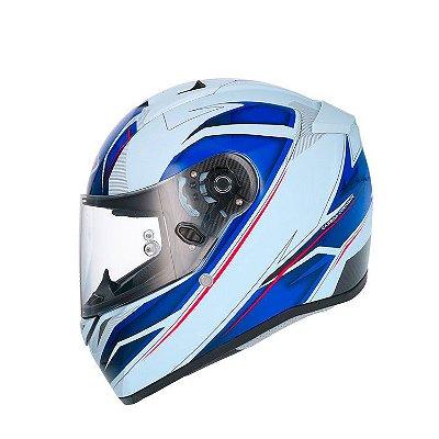 Capacete Shiro SH336 Crown - Branco e Azul