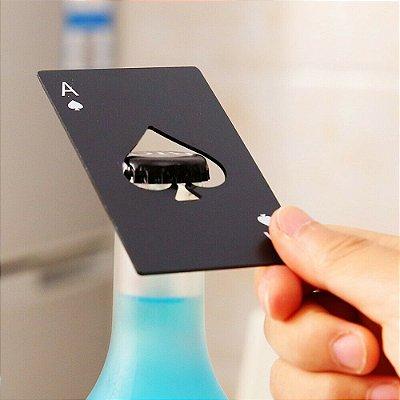 Abridor De Garrafa De Cerveja Preta Pôquer Cartão Ás De Espadas Barra de aço inoxidável Cozinha