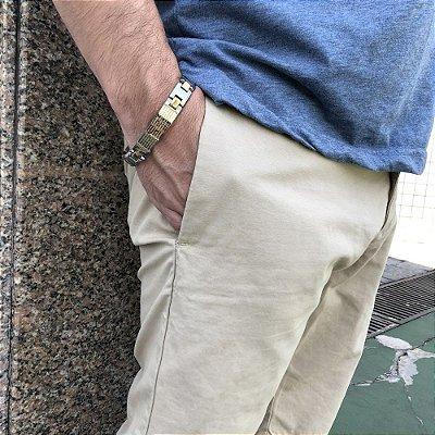 Pulseira Masculina Aço Pai Nosso - 4MEN (21cm)