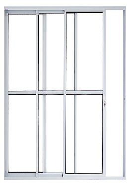 Porta Balcão 3 folhas de Vidro Móveis - Com fechadura - Brilhante