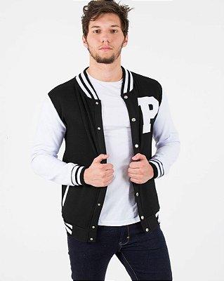 Jaqueta de Moletom Colegial Preto com Branco