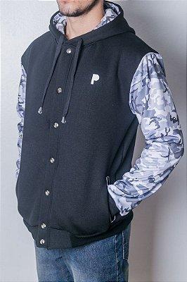 Jaqueta de Moletom Colegial Preto com Camuflado