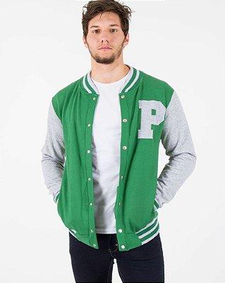 Jaqueta de Moletom Colegial Verde com Mescla