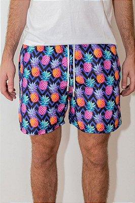 Shorts de Verão Abacaxi Purple