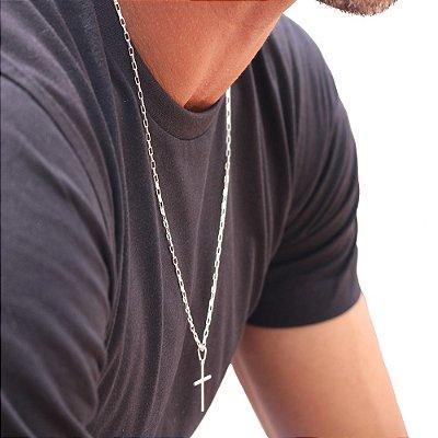 Corrente Masculina Retangular e Cruz Palito em Prata 60 cm
