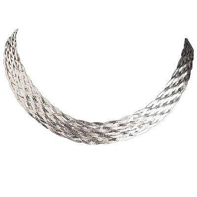 Colar 10 fios elegância em Prata - 40 cm