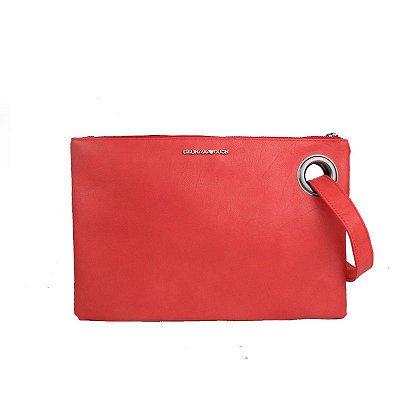 Bolsa Clutch de Couro Rosa Vermelho