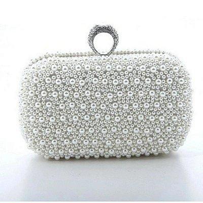 Bolsa Clutch de Pérolas Brancas