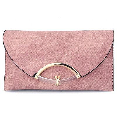 Bolsa Clutch de Couro Rosa Queimado