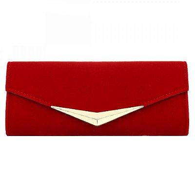Bolsa Cluth Vermelha com Dourado