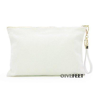 Bolsa Clutch Lona de Algodão Branca