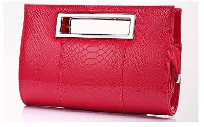 Bolsa Clutch Vermelha Com Prata