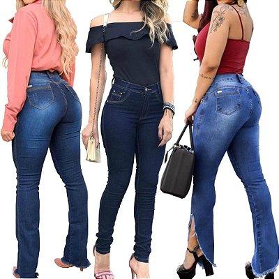 aeef6b8d2 Kit 3 Calça Jeans Feminina Cintura Alta Levanta Bumbum Elastano ...