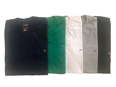 Kit Com 5 Camisetas Básica Manga Curta Aramis