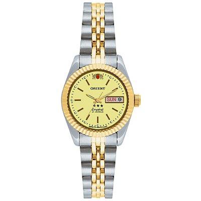 Relogio Feminino Prata Dourado Orient Fundo Dourado 21 Rubis