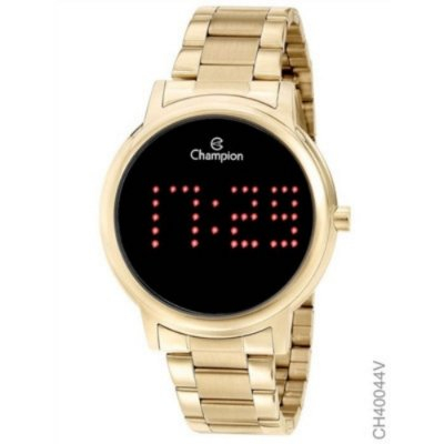 Relogio Feminino Digital Dourado Champion Original Led