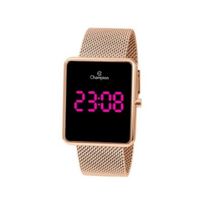 Relogio Feminino Digital Led Rosa Rose Gold Quadrado Champion Original+NF