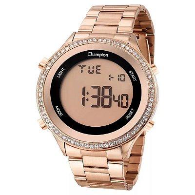 Relógio Feminino Rose Digital Champion Grande com Pedras +NF