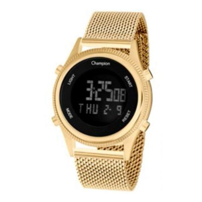 Relógio Feminino Dourado Champion Digital Negativo Original