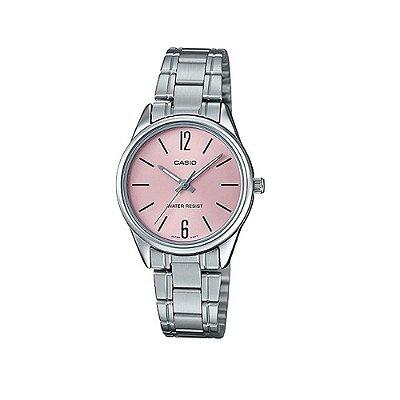 Relógio Casio Feminino Prata com Fundo Rosa + NF