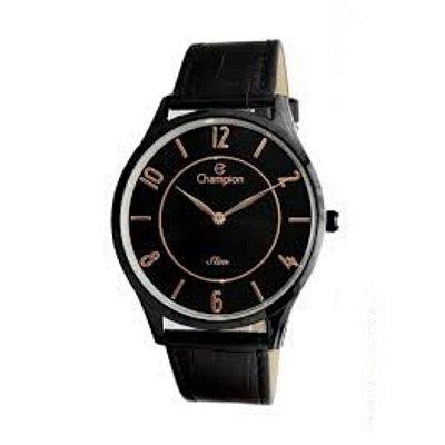 Relógio Feminino Preto Champion Slim Fundo Detalhes Rose