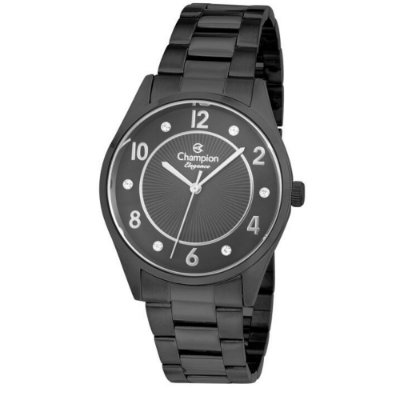 Relógio Feminino Preto Champion Fundo Detalhes Pedras + NF