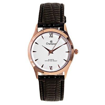 Relógio Feminino Rose Champion Pequeno Pulseira Couro + NF