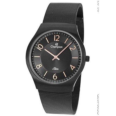 Relógio Feminino Preto Champion Slim Fundo Preto Original