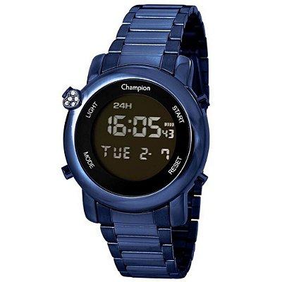 Relógio Feminino Azul Champion Digital Com Coração Original