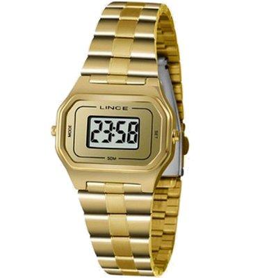 Relógio Feminino Dourado Quadrado Pequeno Lince Digital