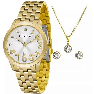 Kit Relógio Feminino Dourado Brinco e Colar Brilhante Lince