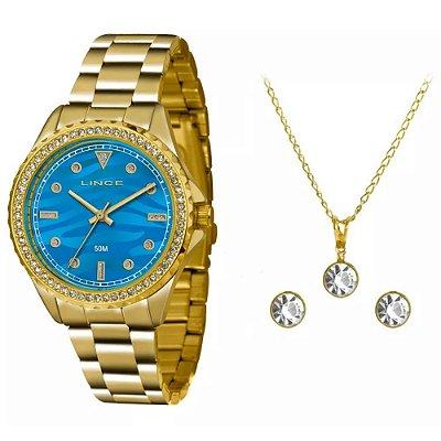 Kit Relogio Lince Feminino Dourado Fundo Azul com Pedras