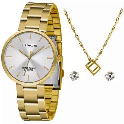 Kit Relogio Feminino Dourado Lince com Colar e Brinco KW71S1