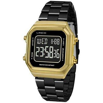 Relógio Feminino Quadrado Digital Preto e Dourado Negativo