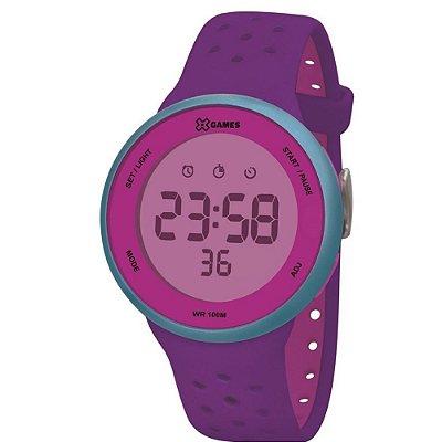 Relógio Feminino Roxo e Verde X-GAMES Digital Comum Silicone