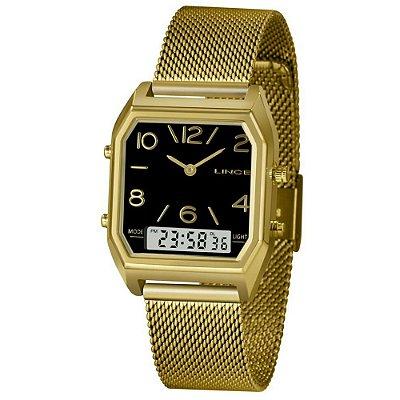 Relógio Feminino Dourado Quadrado Analógico/Digital Lince
