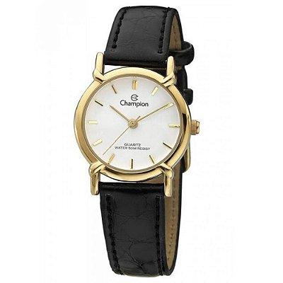 Relógio Feminino Dourado Champion Pulseira Couro Pequeno