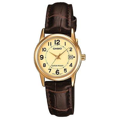 Relógio Casio Feminino Pequeno Dourado Pulseira Couro com Data