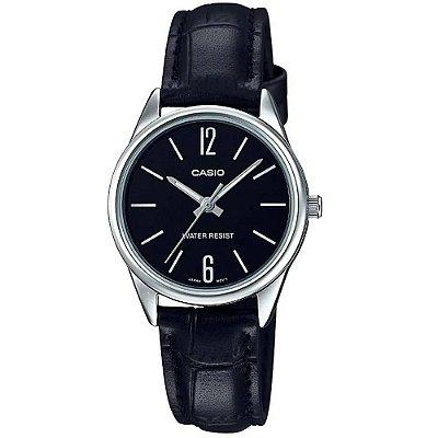 Relógio Casio Feminino Prata Pulseira de Couro Preto + NF