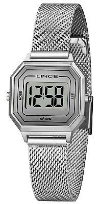 Relógio Feminino Prata Quadrado Digital Pequeno Lince Origin